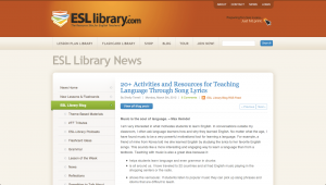 From ESL library. com by Shelly Terrell 20+ Activities and Resources for Teaching Language Through Song Lyrics
